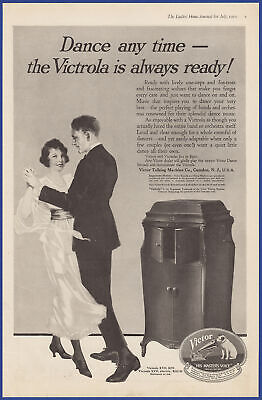 Vintage 1919 VICTOR Victrola Phonograph XVII Electric Talking Machine Print Ad