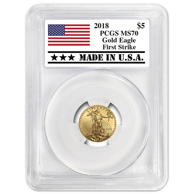 2018 $5 American Gold Eagle 1/10 oz. PCGS MS70 First Strike Made in USA Label