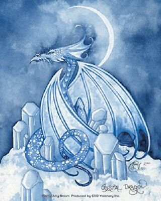 Amy Brown Sticker Decal Fairy Faery CRYSTAL DRAGON white ice moon blue fantasy