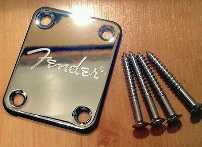 Fender Logo Chrome Neck Plate & Screws Squier Strat Tele Jag Bass, U.K seller