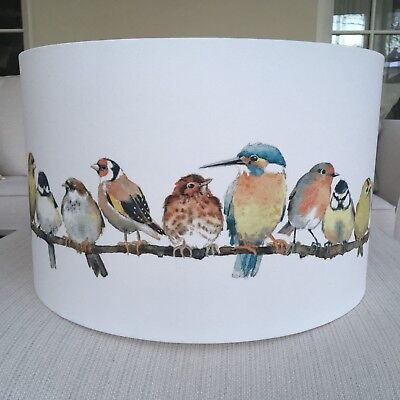 Handmade Lampshade Laura Ashley Garden Birds Fabric, Kingfisher, Robin, Finches