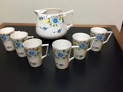 Te-Oh Handpainted Nippon Lemonade Set Pitcher 6 Cups Blue Violets