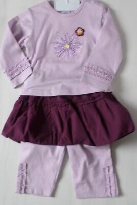 Baby Girls Age 6-12 Months Outfit New 3 Part Set Dizzy Daisy Top Skirt Leggings