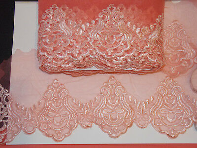 14.5cm wide mint green embroidered tuile lace bridal wedding dress trim net