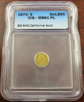 California Gold - 1874/3 $0.50 Octagonal - BG-945 - ICG MS61 PL