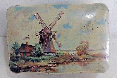 Vintage 6 MB Made in England Chocolate Toffee Biscuit Tin, Windmill, 1950s(6914)