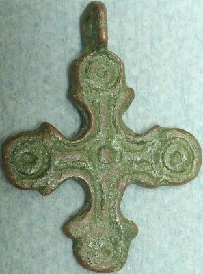 Byzantine Bronze Cross Pendant, Punctured Dots