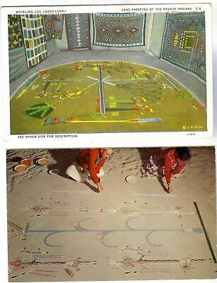 Native Indian Sand Paintings By Navajos During Yabashi Ceremony,2 Views,postcard