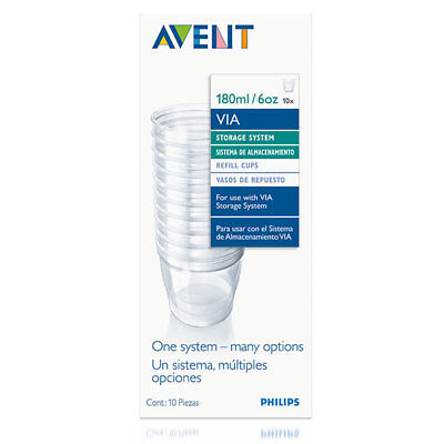 Philips Avent Via 10 X Refill Cups 180Ml For Use With Storage Feeding System