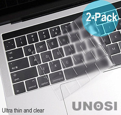 "2-PK Keyboard Cover MacBook Pro 13"" 15"" Touch Bar 2016 2017 2018 Protector Clear"