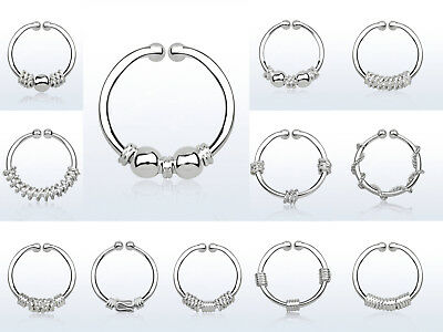 S925 Sterling Silver 12mm 18g Septum Fake Nose Clip Ring Stud No Piercing 1pc