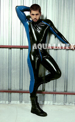 Wonder Suit Best Man Gift Rubber Latex Catsuit Sexy Bodysuit Front Diagonal Zip