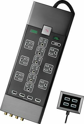 Open-Box Excellent: Rocketfish- 12-Outlet/8-USB Surge Protector Strip - Black