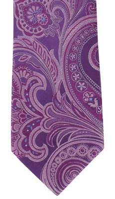 Michelsons of London Large Paisley Silk Tie - Purple