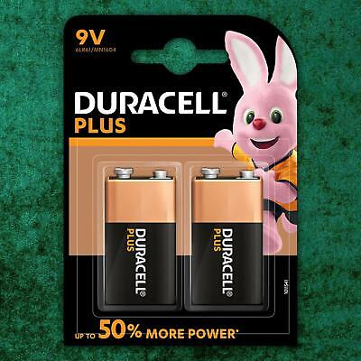 2 Pack Duracell PLUS POWER 9V 6LR61 MN1604 PP3 Alkaline Batteries Smoke Alarm