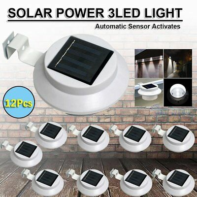 12x 3 LED Solar Power Gutter Fence Lights Outdoor Garden Yard Wall Pathway Lamp
