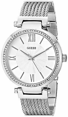 GUESS Womens U0638L1 Sophisticated Silver-Tone Watch with Adjustable Bracelet