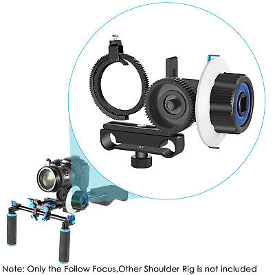 Neewer Follow Focus with Gear Ring Belt for Canon Nikon Sony DSLR -Blue+Black