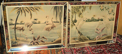 Pair of Antique Art Deco Flamingo Lithograph Mirrored Framed Pictures