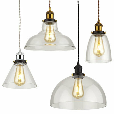 Vintage Glass Ceiling Light Shade Fitting with Metal Pendant Lamp Holder Kit