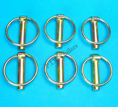 6 x Lynch Pins 10mm x 45mm Linch for Trailer Horsebox Tractor Lorry Tail Gates