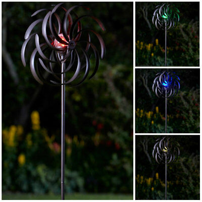 Bronze Solar Wind Spinner Windmill Garden Colour Changing Spinning Ornament NEW