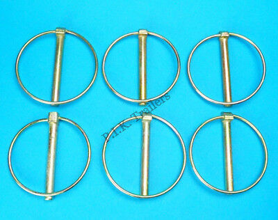 6 x Extra Large 10mm x 80mm Lynch Linch Pins for Trailer Tractor Horse Box #438