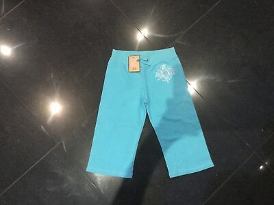 NWT Juicy Couture New & Gen. Girls Age 8 Turquoise Cotton Crop Leg Pants & Logo