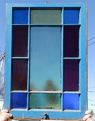 Antique Stained Colored Glass Window Sash 34x24 Victorian Vtg Chic Old 545-18P