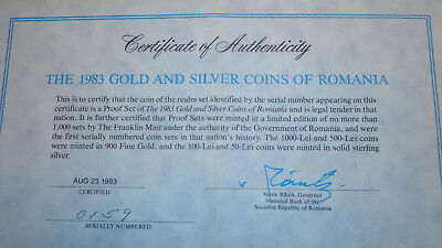 Romania 1983 Gold and Silver Coin Set No. 159 with Original Papers - Very rare.