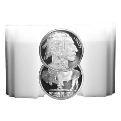 Daily Deal - Lot of 40 - 1 Troy oz Buffalo .999 Fine Silver Round 2 Full Rolls