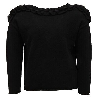2720V maglione bimba IL GUFO lana wool black sweater girl kid
