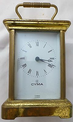 Vintage German Cyma  Brass Carriage  or Tabletop Clock Working Condition