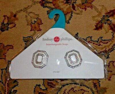 Lindsay Phillips Snaps Shoe Jewelry White Silver With Rhinestone