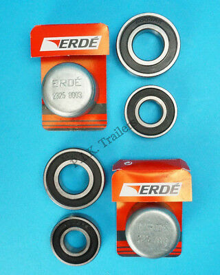 2 x Wheel Bearings & Dust Caps for Erde Motorbike Trailer PM300 & PM310  #KIT114