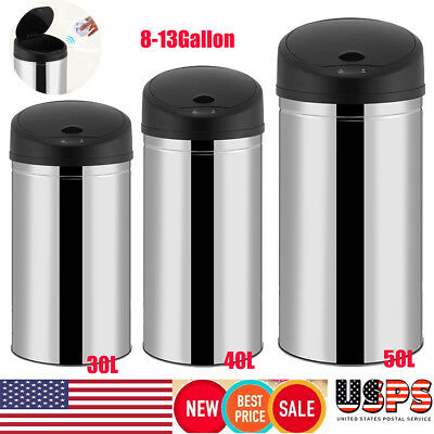 8-13 Gallon Trash Can Round Stainless Steel Touch-free Automatic Sensor Kitchen