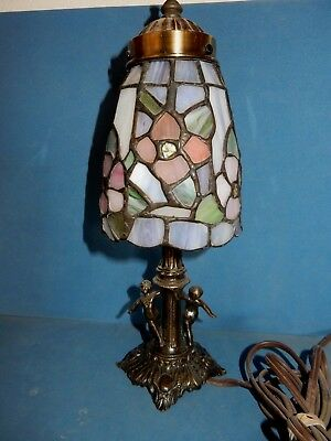 Tiffa Mini Floral Stained Glass Small Tiffany Style Table Lamp / Cherubs