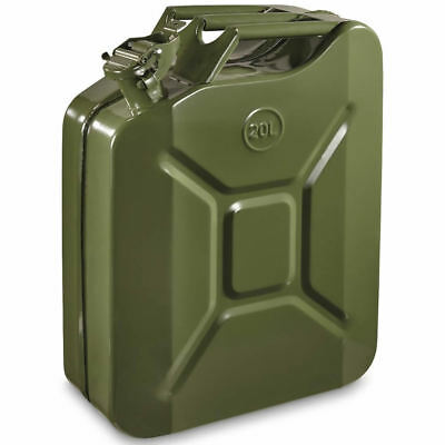 20L Green Metal Jerry Can Fuel Petrol Diesel Oil Containers Canister Army 4x4