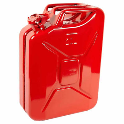 20L Red Metal Jerry Can Fuel Petrol Diesel Oil Containers Canister Army 4x4