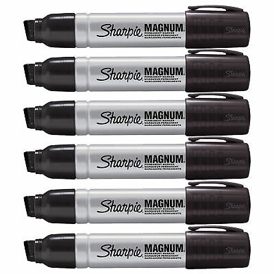 Sharpie Pro Magnum Professional Permanent Marker Chisel Tip, Black Ink, 6/Pack
