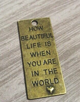 Large Quote Pendant Focal Piece Word Charm Antiqued Bronze How Beautiful Life Is