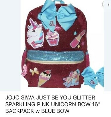 "Jojo Siwa Girls Glitter Just Be You 16""Backpack  With Bonus Blue Bow Hair Tie!!"
