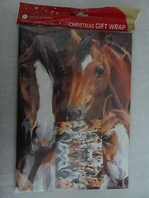 New Horse Pattern Wrapping Paper & Gift Tags,plus Extra Paper And Tissue