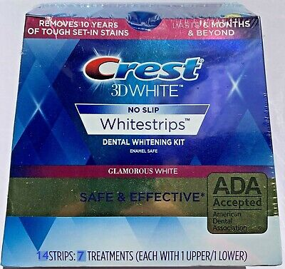 NO BOX CREST 3D GLAMOROUS WHITE Whitestrips Teeth Dental Whitening Strips NEW