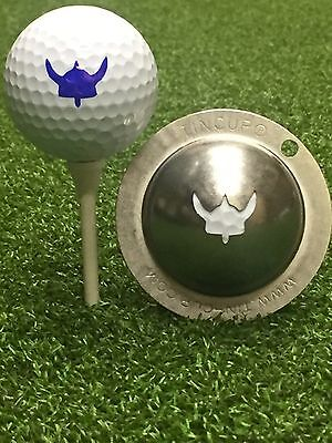 1 only TIN CUP GOLF BALL MARKER - The VOYAGER - VIKING - RAIDERS & For Life