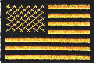 AMERICAN FLAG,YELLOW & BLACK - Iron On Embroidered Patch/Patriotic USA,Biker