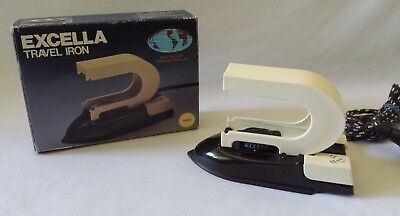 Vintage C1980'S Excella Fold Up Travel Iron - Like New In Its Original Box