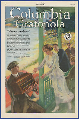 Vintage 1920 COLUMBIA Grafonola Phonograph Ephemera Art Decor Print Ad 1920's
