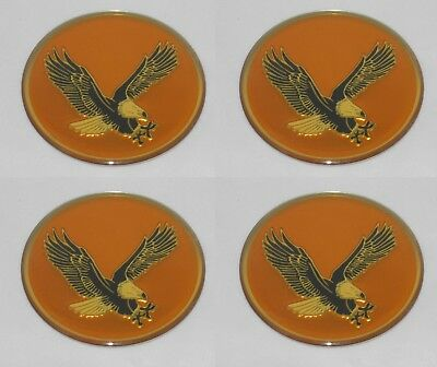 "SET OF 4 GOLD BIRD EAGLE LOGO WHEEL RIM CENTER CAP ROUND DECAL STICKER 2"" / 50mm"