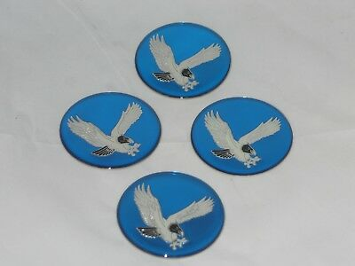 "4 - BLUE 2"" / 50mm BIRD EAGLE LOGO WHEEL RIM CENTER CAP ROUND DECAL STICKER SET"